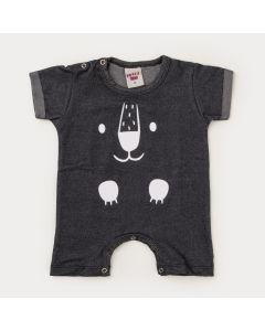 Macaquinho de Verão Bebê Menino Urso Preto