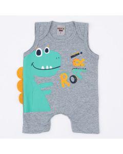 Macaquinho de Verão Bebê Menino Cinza Dinossauro