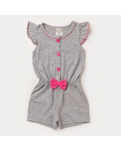 Macaquinho para Bebê Menina Cinza com Botões Rosa