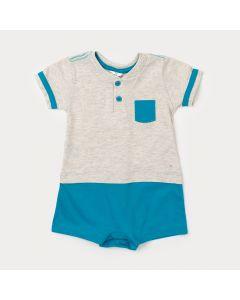 Macaquinho para Bebê Masculino Cinza com Aplique de Bolso e Botão
