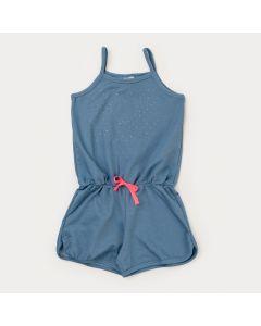 Macaquinho de Verão Infantil Feminino em Cotton Jeans Azul