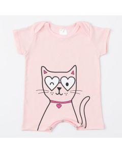 Macaquinho Rosa Gatinho de Verão para Bebê Menina