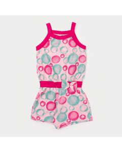 Macaquinho Infantil Feminino Rosa com Estampa de Bolinha e Laço