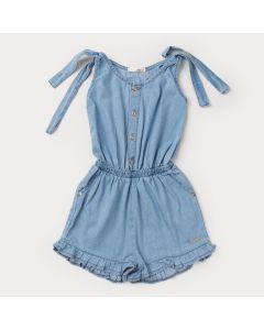 Macaquinho Jeans Azul Claro Infantil Feminino com Amarração no Ombro