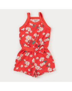 Macaquinho de Verão Infantil Feminino Laranja Floral