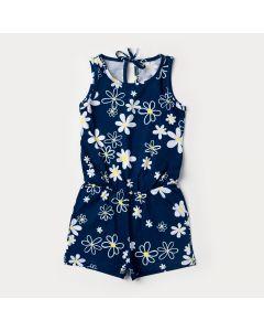 Macaquinho de Verão Marinho Floral para Menina