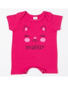 Macaquinho de Verão Pink para Bebê Menina Gatinho