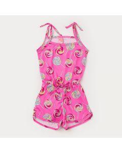 Macaquinho de Verão Pink Pirulito Infantil Feminino