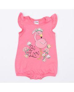Macaquinho Curto Rosa Flamingo para Bebê Menina