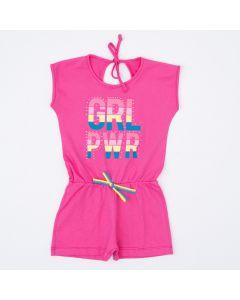 Macaquinho Infantil Feminino Pink Estampado