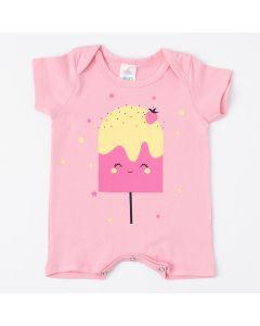Macaquinho de Verão Rosa para Bebê Menina Picolé