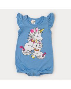 Macaquinho Azul para Bebê Menina Unicórnio