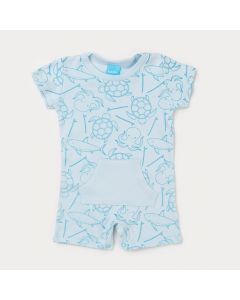 Macaquinho de Verão Bebê Menino Azul Tartaruga