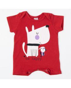 Macaquinho Curto Vermelho para Bebê Menina Cachorrinho