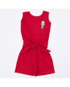 Macaquinho Vermelho Sorvete com Amarração na Cintura para Menina