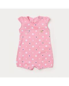 Macaquinho de Bebê Menina Rosa Estampado