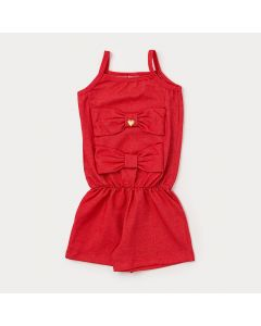 Macaquinho Infantil Vermelho com Laço