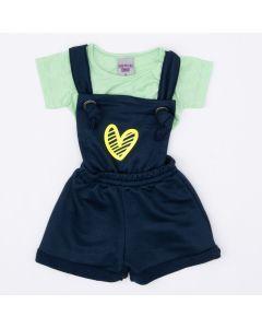 Jardineira Marinho Coração e Blusa Verde Listrada para Bebê Menina