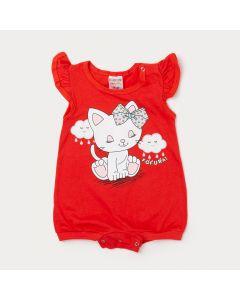Macacão Curto Bebê Menina Vermelho com Estampa de Gatinho