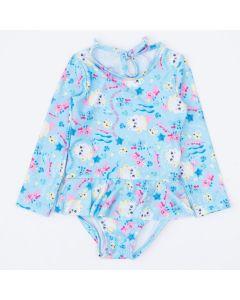 Maiô para Bebê Menina Azul Sereia com Babadinho