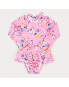 Maiô para Bebê Menina Rosa Estampado com Proteção UV