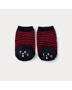 Meia Listrada Vermelha com Preto para Bebê Menino Gatinho com Chocalho