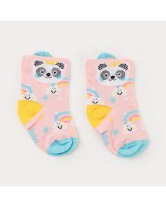 Meia Soquete para Bebê Menina Rosa Panda