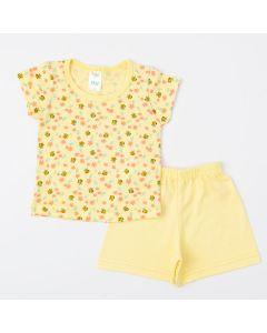 Pijama Amarelo para Bebê Menina Blusa Abelhinha e Short Básico