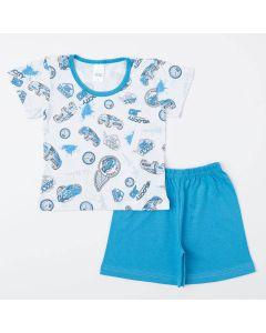 Pijama de Verão Azul para Menino Blusa Carro e Short Básico