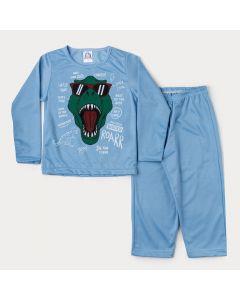 Pijama de Inverno Menino em Moletinho Blusa Azul Dinossauro e Calça