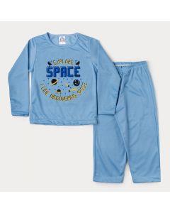 Pijama de Inverno Infantil Masculino em Moletinho Blusa Azul Estampada e Calça