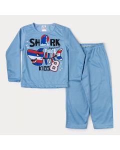 Pijama de Inverno para Menino em Moletinho Blusa Azul Tubarão e Calça