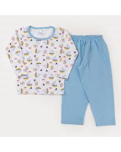 Pijama de Frio para Menino Blusa manga Longa Tigre e Calça Azul