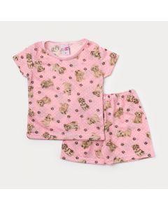 Pijama Bebê Menina Rosa com Estampa de Cachorro