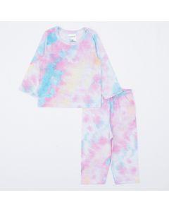 Pijama para Bebê Menina Tie Dye Blusa Manga Longa e Calça