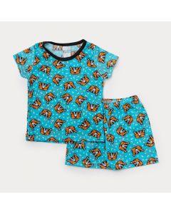 Pijama Bebê Menino Azul com Estampa de Tigre