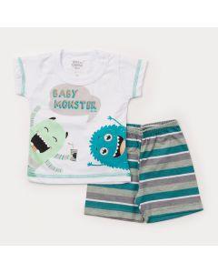 Pijama de Verão para Bebê Menino Blusa Branca Monstrinhos e Short Listrado
