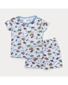 Pijama Bebê Menino Branco com Estampa de Carro