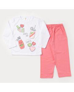 Pijama de inverno Infantil Feminino Blusa Branca Estampada e Calça Rosa