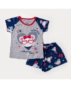 Pijama Curto para Menina Blusa Cinza Ursinho e Short Marinho Estampado