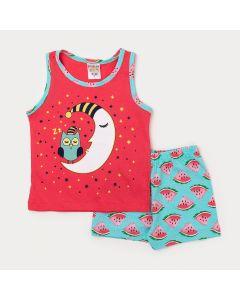 Pijama Curto Menina Regata Vermelha Lua e Short Verde Melancia