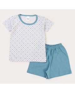 Pijama de Verão para Menino Blusa Branca Estampada e Bermuda Azul