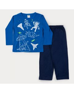 Pijama de Inverno Infantil Masculino Blusa Azul Constelação e Calça Marinho