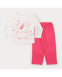 Pijama de Inverno Menina Blusa Marfim Unicórnio e Calça Rosa