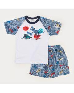 Pijama de Verão Infantil Masculino Blusa Branca Dinossauro e Short - Com Figurinha