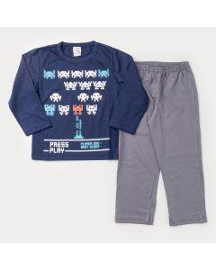 Pijama de Inverno para Menino Blusa Marinho Game e Calça Cinza