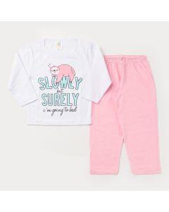 Pijama de Frio para Menina Blusa Branca Preguiça e Calça Rosa