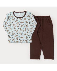 Pijama de Inverno para Menino Blusa Manga Longa Raposinha e Calça Marrom