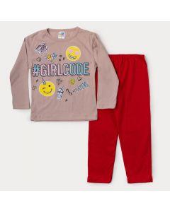 Pijama de Inverno Infantil Feminino Blusa Rosa Estampada e Calça Vermelha