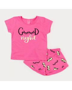Pijama de Verão Infantil Feminino Rosa Estampado